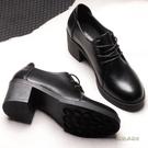 冬季黑色小皮鞋女中跟上班工作鞋粗跟高跟單鞋職業正裝繫帶女鞋秋「時尚彩紅屋」