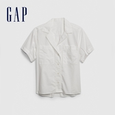 Gap女裝簡約風格翻領短袖襯衫577661-白色