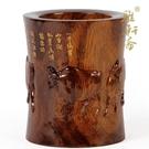 紅木工藝品筆筒擺件 實木雕刻生肖牛 東陽仿古五牛圖木質文房四寶