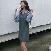 早秋女裝新款氣質V領無袖寬松外搭馬甲 長袖純色襯衫時尚兩件套裝