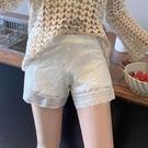 外穿打底褲/紧身裤 居家可外穿安全褲女防走光寬鬆打底褲短褲蕾絲夏白色薄款不卷邊