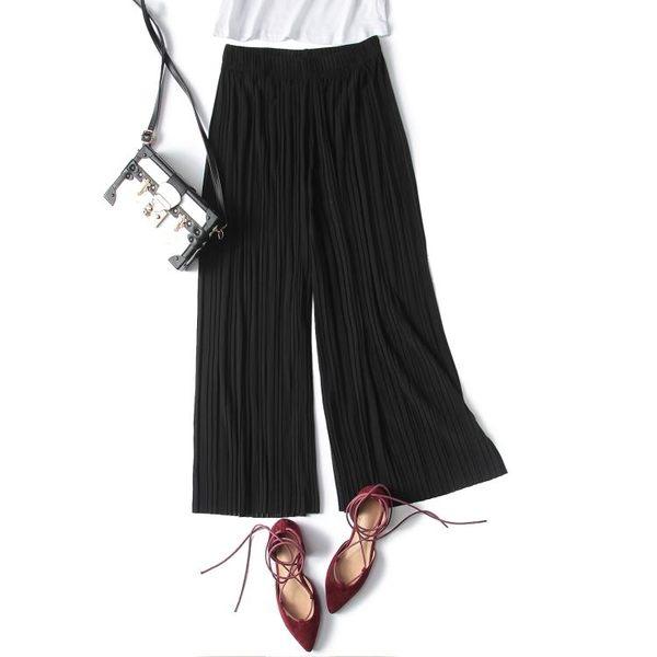 百褶雪紡闊腿寬管褲女夏2018新款正韓九分高腰寬鬆胖mm裙褲子S-XL 7色入 基本款