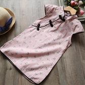 洋裝 夏季新款童裝中國風小碎花盤扣連身裙兒童民族風旗袍 巴黎春天