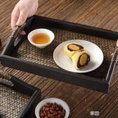 藤編茶盤木托盤 泰式花盆托盤 長方形水杯茶杯托盤復古美容院托盤 享購