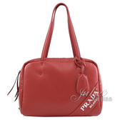 茱麗葉精品【全新現貨】PRADA 1BB052 經典LOGO烙印肩背空氣包波士頓包.紅