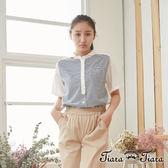 【Tiara Tiara】百貨同步  小香風衣領雙色短袖襯衫(藍底黑條紋/白底藍條紋/白底黑條紋)