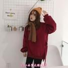 一件減100元 紅色寬鬆慵懶BF風衛衣女秋冬新款學生開叉加絨潮 - 小衣里大購物