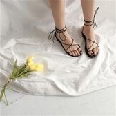 涼鞋沙灘交叉綁帶羅馬涼鞋學生露趾平底百搭平跟女鞋  『名購居家』