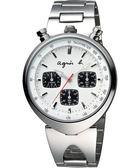 agnes b. 小惡魔三眼計時腕錶-銀/39mm VD55-KS00S(BX9005X1)