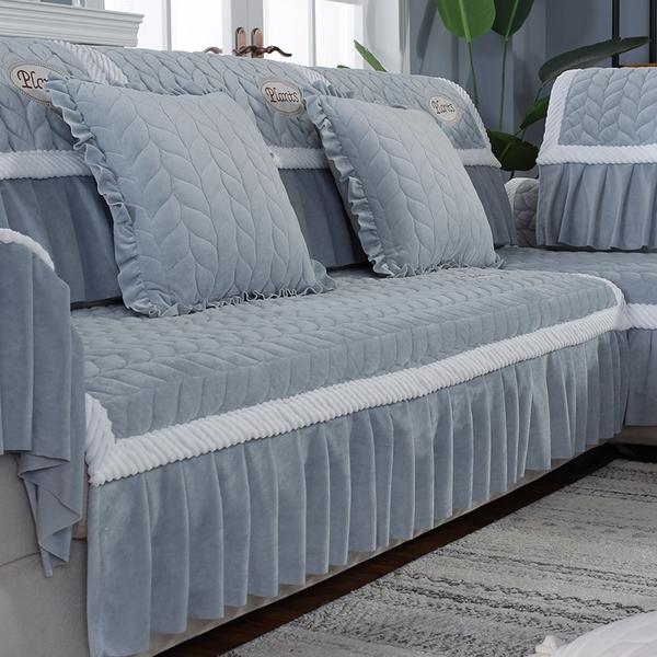 90*180+20垂邊毛絨沙發墊布藝全蓋現代簡約坐墊防滑萬能套全包沙發套四季通用型