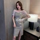 旗袍 法式復古中國風格子泡泡袖改良版旗袍仙女裙新款夏季連身裙