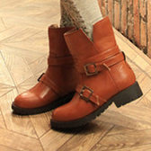 短靴 個性側開金屬扣環工程短靴【S214】☆雙兒網☆