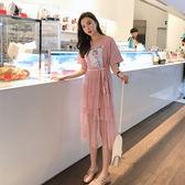 VK旗艦店 韓系時尚網紗印花氣質蛋糕裙短袖洋裝