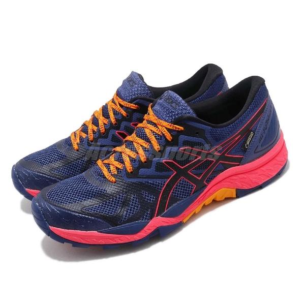 Asics 越野慢跑鞋 Gel-FujiTrabuco 6 G-TX 藍 黑 防水 戶外 女鞋 【PUMP306】 T7F5N400