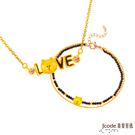 J'code真愛密碼 LINE我愛熊大黃金/水晶項鍊+熊大愛你黃金/尖晶石手鍊