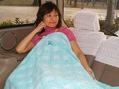 BURBERRY日系絕版純棉格紋毛巾被蓋毯(藍綠色)081600-3