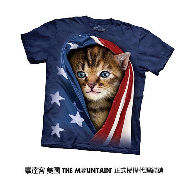 【摩達客】(預購)美國進口The Mountain 愛國小貓 純棉環保短袖T恤(10415045016)