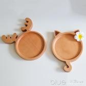 日式木質餐具創意兒童卡通餐盤飯盤子點心分格果盤托盤鹿角小貓 【快速出貨】