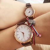韓版皮帶創意男女學生手錶腕錶 時尚百搭復古情侶石英錶《小師妹》yw163