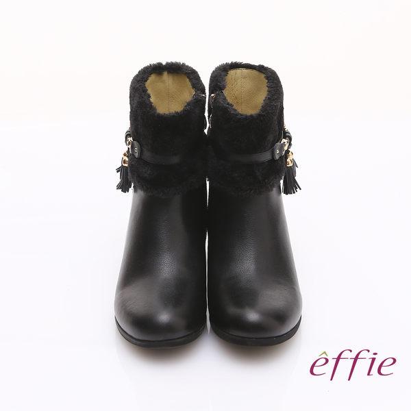 effie 心機美型 真皮毛呢流蘇內增高奈米短靴 黑