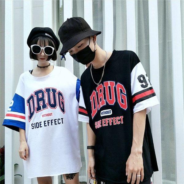 找到自己 MD 日系 潮 街頭 男女 情侶裝 寬鬆五分袖 拼色DRUG印花 短袖T恤 特色短T 字母T