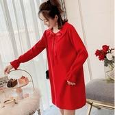 漂亮小媽咪 韓系針織洋裝【D9319】 蝴蝶 娃娃領 純色 長袖 毛衣裙 洋裝 孕婦裝 毛線裙