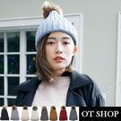 OT SHOP帽子‧素色厚毛線可愛羊毛球‧毛帽編織帽球球帽‧韓系歐美時尚保暖單品‧現貨七色‧C1877