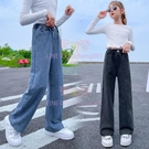 兒童長褲女童牛仔褲春秋韓版女孩大童直筒闊腿褲休閑寬松兒童褲子【聚可愛】