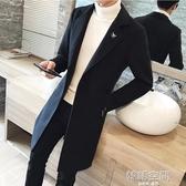 風衣男韓版中長款呢子大衣ins超火的風衣加厚外套潮修身毛呢大衣