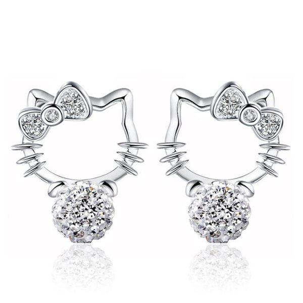 時尚鍍銀耳飾品韓版香巴拉滿鑽球 kitty貓耳釘女款《小師妹》ps403