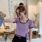 2020新款夏季網紅法式方領修身短款上衣服紫色針織短袖T恤女ins潮 草莓妞妞