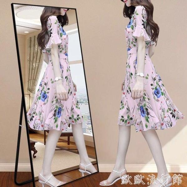 媽媽洋裝 2020年夏季新款女貴夫人媽媽有女人味碎花雪紡連衣裙顯瘦典雅裙子 歐歐