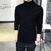 毛衣男 男士修身純色高領毛衣加厚保暖針織衫緊身長袖韓版打底衫黑色   傑克型男館