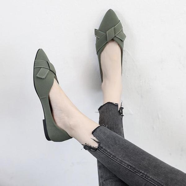 2021春季新款網紅百搭尖頭淺口單鞋女韓版平底仙女風溫柔豆豆鞋子 果果輕時尚