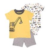 【北投之家】男寶寶套裝三件組 短袖包屁衣+T恤上衣+短褲 黃挖土機 | Carter s卡特童裝 (嬰幼兒/baby)
