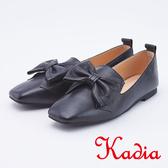 kadia.蝴蝶結全真皮平底娃娃鞋(9525-90黑色)