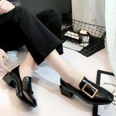 聖誕節交換禮物-英倫風方頭粗跟單鞋女中跟皮帶扣淺口百搭套腳小皮鞋