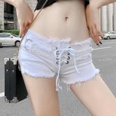 短褲 性感DJ潮流超短性感低腰破洞流蘇緊身熱褲白色牛仔短褲女