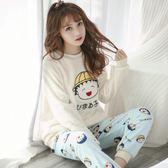 珊瑚絨睡衣女秋冬季韓版甜美可愛法蘭絨家居服睡衣女冬款加厚保暖  花間公主