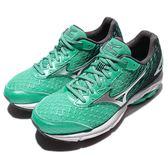 【六折特賣】Mizuno 慢跑鞋 Wave Rider 19 綠黑漸層 銀 網布透氣 女鞋 運動鞋 【PUMP306】 J1GD160319