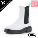 韓國Ollie 韓國空運 俐落有型 4cm顯瘦厚底 撞色切爾西短靴【F720776】版型偏小/SD韓美鞋