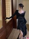 熱賣半身魚尾裙 不規則半身裙女2021新款春季高腰中長款裙子氣質赫本風黑色魚尾裙 coco