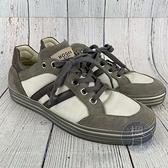 BRAND楓月 HOGAN 灰白色 皮革 帆布 拼接 板鞋 平底鞋 休閒鞋 男款 #40