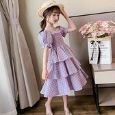 女童紫色純棉洋裝2021年新款夏裝大童夏款夏季洋氣小孩兒童裙子 幸福第一站