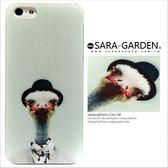 24H 客製美式ZOO 手繪紳士帽鴕鳥iPhone 5 5S SE 手機殼荔枝紋硬殼Sara Garden ~A0125005 ~