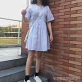 裙復古夏季超仙連身裙小個子港味chic裙子白色a字襯衫裙  Cocoa