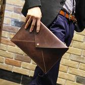 男包新韓版男士時尚手工潮女信封手拿包手抓包A4文件包 降價兩天