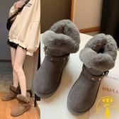 雪地靴加絨短筒平底防滑短靴百搭懶人鞋女加厚【雲木雜貨】