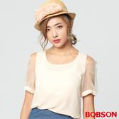 【BOBSON】女款裸肩雪紡混紗上衣 (28088-32)