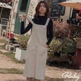 洋裝 RCha。燈芯絨吊帶兩件式長袖長洋裝-Ruby s 露比午茶